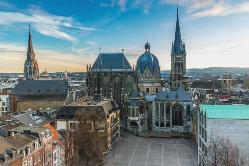 marvellous view above the roofs of the historical city Aachen